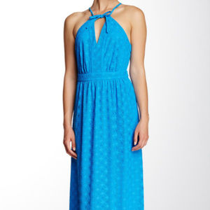 Tori Richard Crochet Halter Maxi Dress Blue
